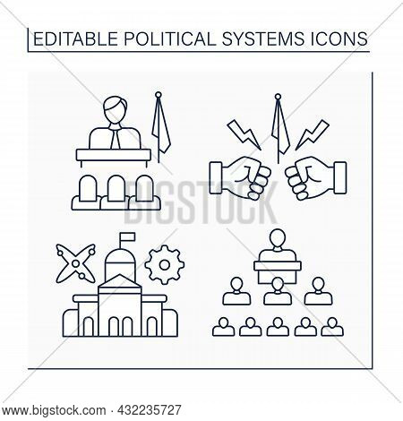Political Systems Line Icons Set. Patriarchate, Opposition, Technocracy, Structure Political. Sociol