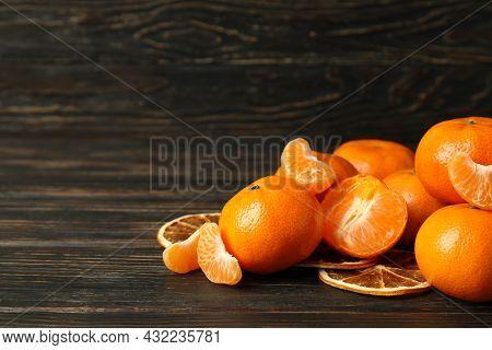 Tasty Fresh Mandarins On Rustic Wooden Background