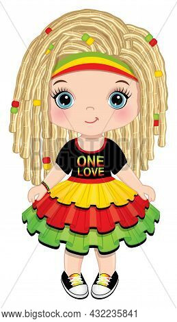 Cute Little Girl Wearing Rastafarian Ruffled Dress And Headband. Little Blond Girl With Blue Eyes An