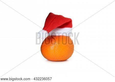 Mandarin With Santa Hat Isolated On White Background