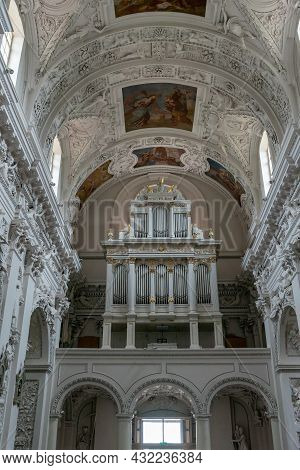 Interior View Of The Church Of Saint Peter And Saint Paul In Vilnius With The Church Organ