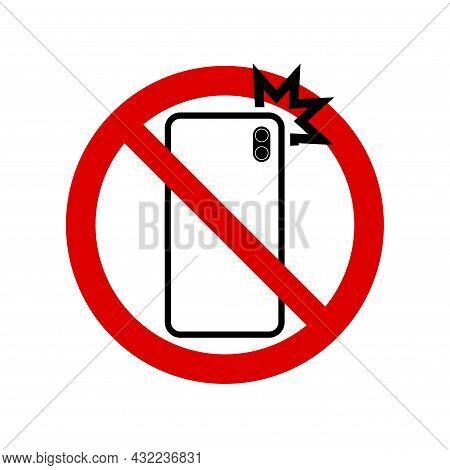 No Photo Smartphone Flash Prohibition Sign. No Symbol, Do Not Sign, Circle Backslash Symbol, Nay, Pr
