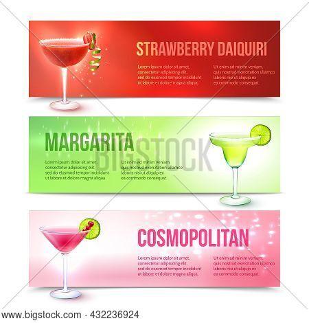 Strawberry Daiquiri Margarita Cosmopolitan Cocktails Horizontal Banner Set Isolated Vector Illustrat