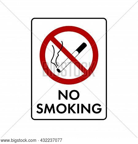 No Smoking Cigarette Prohibition Sign. No Symbol, Do Not Sign, Circle Backslash Symbol, Nay, Prohibi