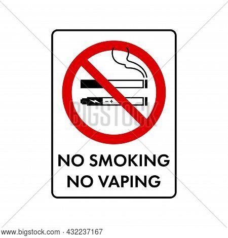 No Smoking, No Vaping Combined Prohibition Sign. No Symbol, Do Not Sign, Circle Backslash Symbol, Na