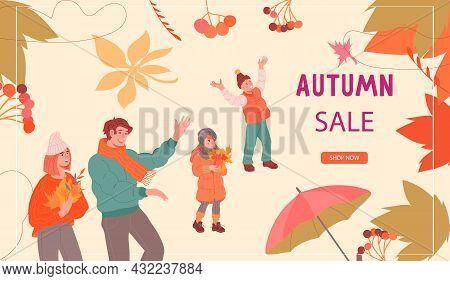 Autumn Sale Website Layout For Promotion Of Harvest Market Or Shop Sale, Flat Vector Illustration. L