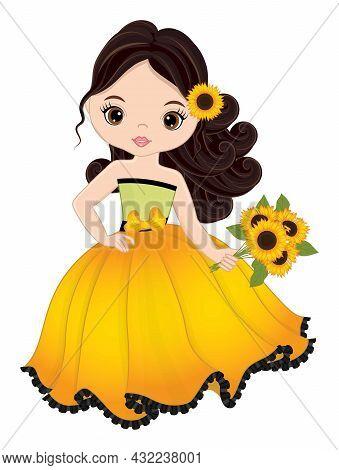 Beautiful Young Girl Wearing Long Yellow Dress Holding Bouquet Of Sunflowers. Cute Girl Is Dark-hair
