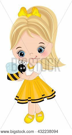 Vector Cute Little Girl Holding Bee. Little Girl Wearing Yellow Dress. Little Girl Is Blond With Pon