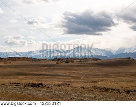 Autumn View Of The Altai Mountains And The Valley. Severo-chuysky Ridge, Chuysky Tract, Altai Republ