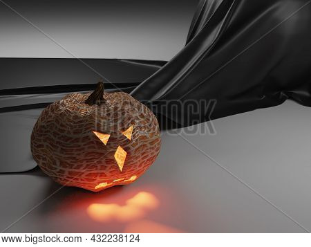 Pumpkin For Halloween On A Gray Background With A Black Shiny Fabric In The Background. 3d Render. Y