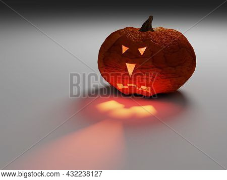 Pumpkin For Halloween On A Gray Background. 3d Render. Yellow Pumpkin Glowing Yellow Light From The