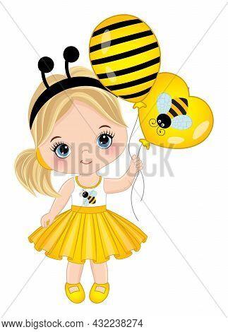 Vector Cute Little Girl Holding Air Balloons. Little Girl Wearing Yellow Dress And Bee Headband Ante