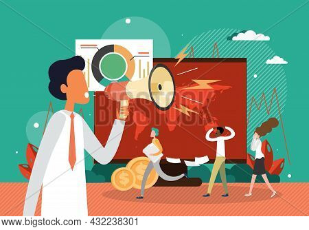 Angry Boss Shouting At Employees Through Megaphone, Flat Vector Illustration. Workplace Stress, Conf