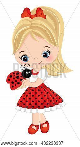Vector Cute Little Girl Holding Ladybug. Little Girl Wearing Red Polka Dot Dress. Little Girl Is Blo