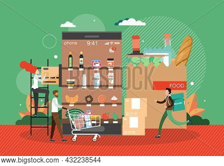 Online Grocery Store. People Buying Food Using Mobile App, Vector Illustration. Online Grocery Order