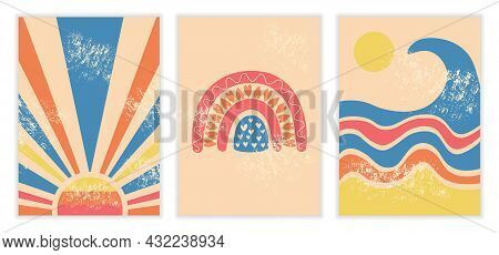 Abstract Pop Art. Collection Of Posters With Sun, Rainbow And Sea. Design Elements For Websites, Wal