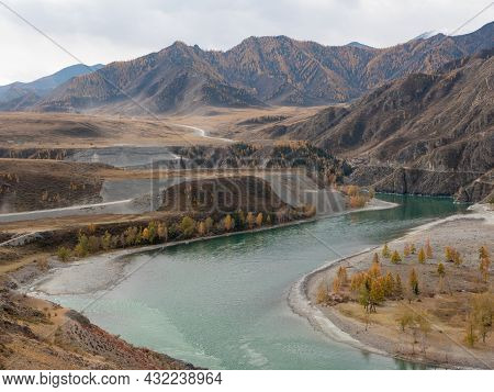 Autumn View Of The Altai Mountains And The Confluence Of The Chuya And Katun Rivers. Chuysky Tract,