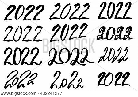 2022 Happy New Year Logo Text Design Big Set. 2022 Number Design Template. Hand Drawn Collection Of