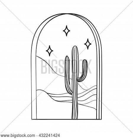 Bohemian Modern Arch Logo Design. Cactus, Stars