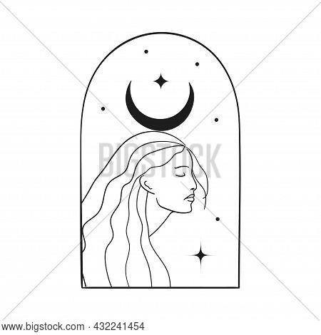 Bohemian Modern Arch Logo Design. Crescent, Stars