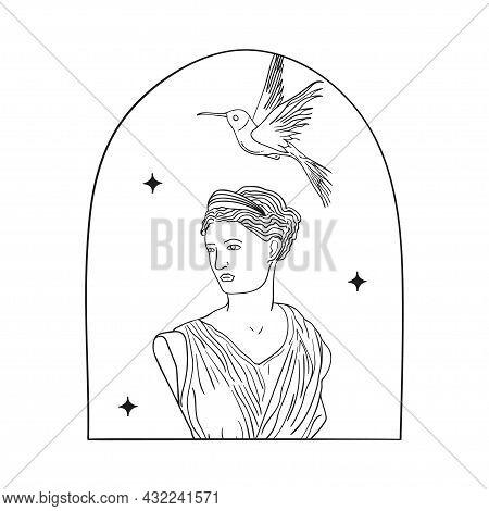 Bohemian Modern Arch Logo Design. Woman, Bird
