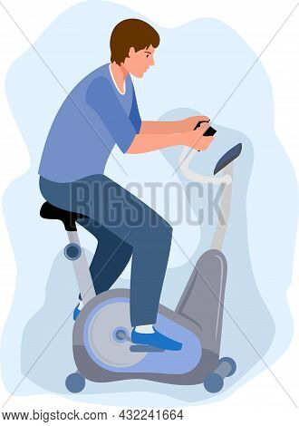 Man On A Stationary Bike, Isolated On White Background. Sports, Workout At Home Or In Gym Or In A Re