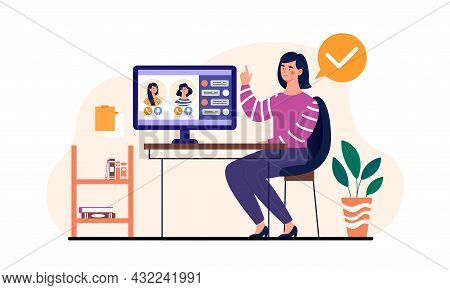 Woman Using Computer. Employee Communicates With Colleagues Via Video Link. Remote, Teleworking, Con