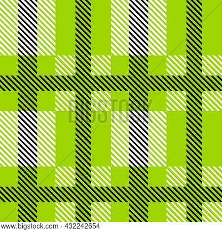 Green And Black Scotland Textile Seamless Pattern. Fabric Texture Check Tartan Plaid. Abstract Geome