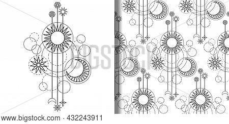 Astrology Modern Print And Seamless Pattern Set