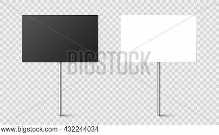 Black And White Blank Boards With Place For Text, Protest Sign. Realistic Demonstration Or Advertisi