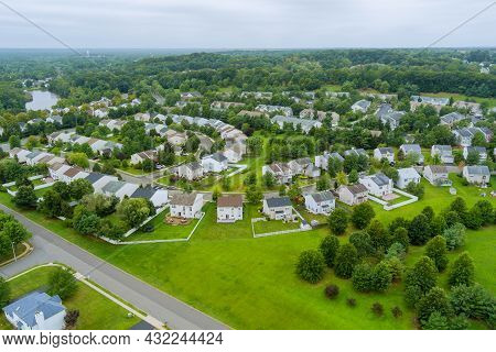 Scenic Seasonal Landscape From Above Aerial View Of A Small Town In Countryside Usa