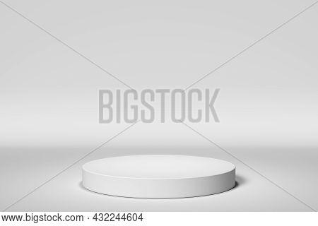 Simple White Presentation Podium. 3d Render Illustration.