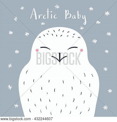 Cute Cartoon Snowy Owl Portrait, Quote Arctic Baby, Snow. Hand Drawn Vector Illustration. Winter Ani