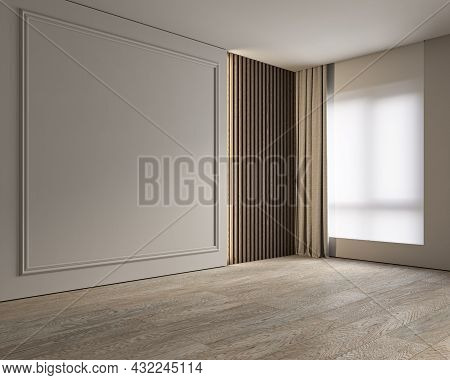 Modern Classic Gray Beige Empty Interior Blank Wall. 3d Render Illustration Mockup.