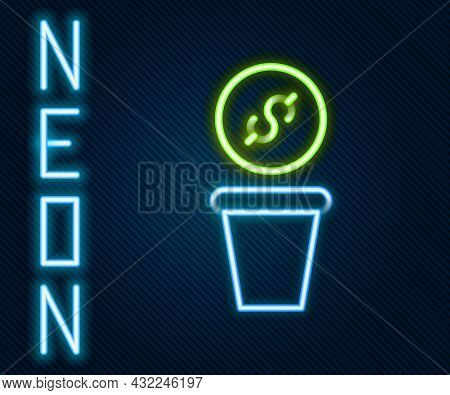 Glowing Neon Line Donation Money Icon Isolated On Black Background. Hand Give Money As Donation Symb
