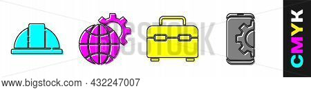 Set Worker Safety Helmet, Globe Of The Earth And Gear, Toolbox And Setting On Smartphone Icon. Vecto