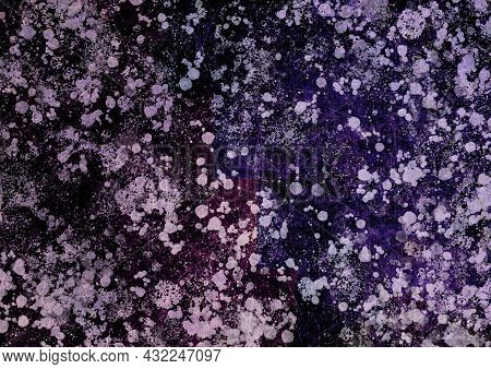 Purple Burgundy Lilac Vintage Background With Spots, Splashes And Dots. Watercolor Texture With Blur