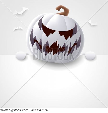 3D illustration of cute Jack O Lantern white pumpkin character with big blank signboard on white background. Wide copy space for design.