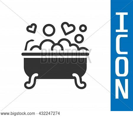 Grey Romantic In Bathroom Icon Isolated On White Background. Concept Romantic Date. Romantic Bathroo