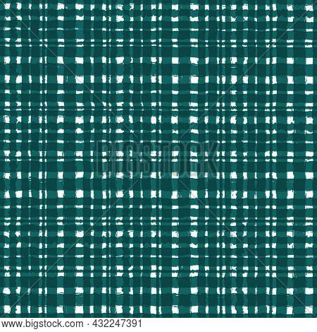 Green Blue Checkered Old Vintage Background With Blur, Gradient And Grunge Texture. Classic Checkere