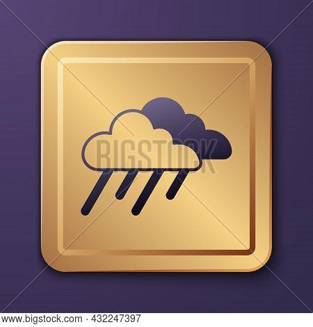 Purple Cloud With Rain Icon Isolated On Purple Background. Rain Cloud Precipitation With Rain Drops.