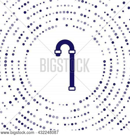 Blue Walking Stick Cane Icon Isolated On White Background. Abstract Circle Random Dots. Vector
