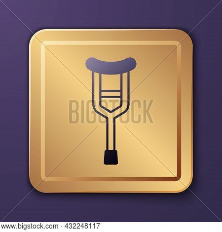Purple Crutch Or Crutches Icon Isolated On Purple Background. Equipment For Rehabilitation Of People