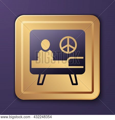 Purple Peace Icon Isolated On Purple Background. Hippie Symbol Of Peace. Gold Square Button. Vector