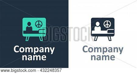 Logotype Peace Icon Isolated On White Background. Hippie Symbol Of Peace. Logo Design Template Eleme