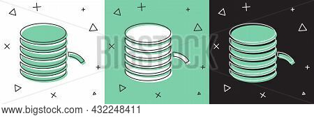 Set Plastic Filament For 3d Printing Icon Isolated On White And Green, Black Background. Vector