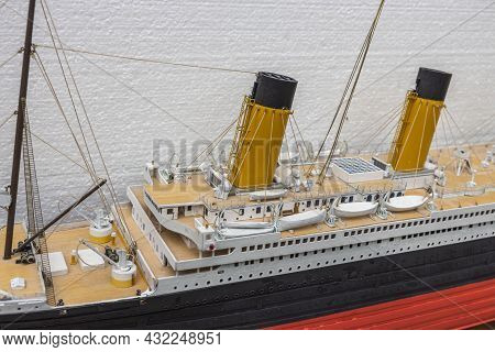 Close Up View Of Part Of Wooden Titanic Ship Model. Beautiful Wooden Titanic Hobby Model Isolated. S
