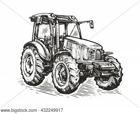 Agricultural Tractor Sketch. Farming Concept Vector Illustration