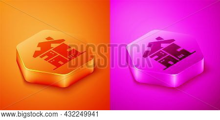 Isometric Homeless Cardboard House Icon Isolated On Orange And Pink Background. Hexagon Button. Vect