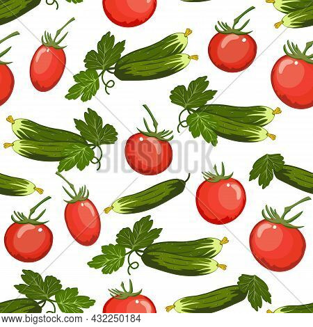 Pattern With Tomatoes And Cucumbers.seamless Vector Pattern With Tomatoes And Cucumbers On A White B